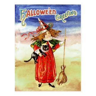 Halloween Greetings from The Witch and Her Cat Postcard