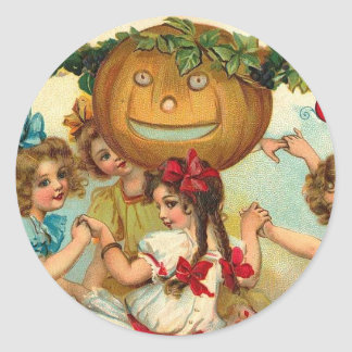 Halloween Greetings Girls Classic Round Sticker