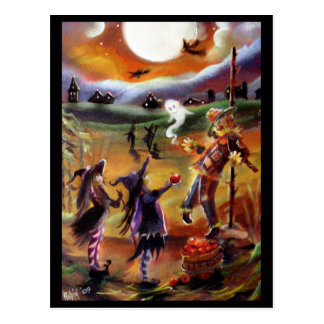 Halloween Greetings, Scarecrow and Friends Postcard