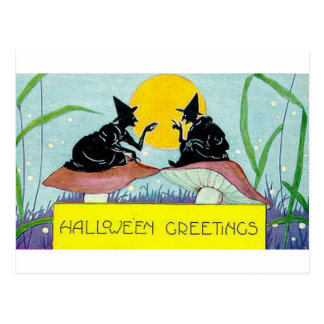 Halloween Greetings Witches on Mushrooms Postcard