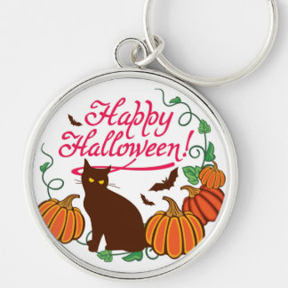 Halloween greetings with black cat keychain