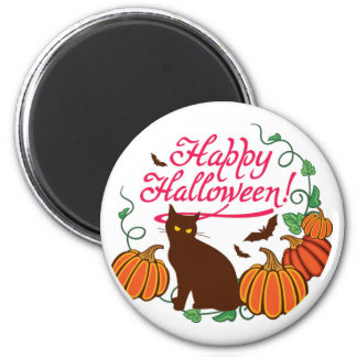 Halloween greetings with black cat magnet