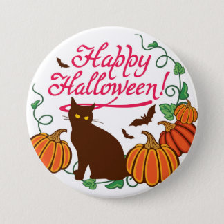 Halloween greetings with black cat pinback button