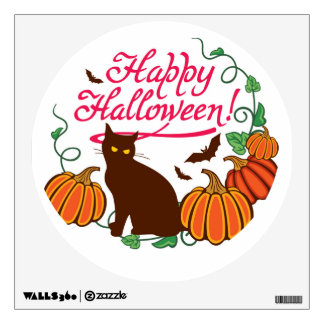 Halloween greetings with black cat wall sticker