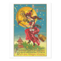 Halloween Greetings Woman On Broom Post Cards