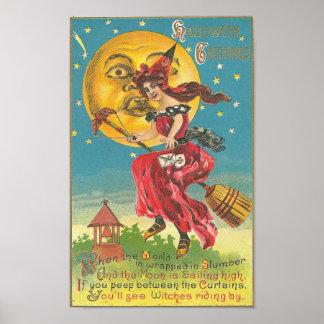 Halloween Greetings Woman On Broom Poster
