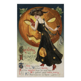 Halloween GreetingWitch Dancing and Pumpkin Poster