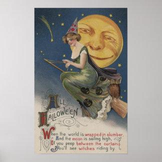 Halloween GreetingWitch en vuelo Posters