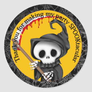 Halloween Grim Reaper and Scythe Party Thank You Classic Round Sticker