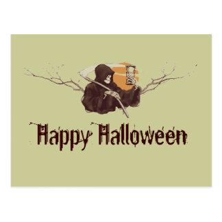 Halloween grim reaper death skeleton full moon postcard