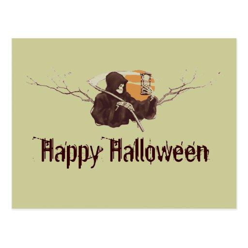 Halloween grim reaper death skeleton full moon postcards