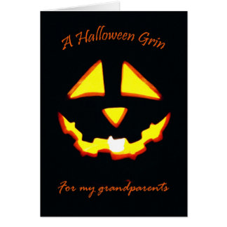 Halloween Grin for Grandparents, Jack o' Lantern Card