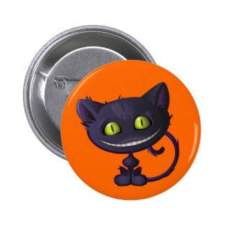 Halloween Grinning Black Cat Pins