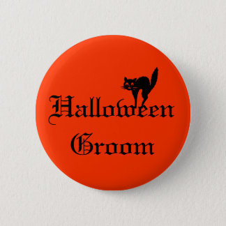 Halloween Groom Button with black cat - orange and