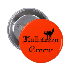 Halloween Groom Button with black cat - orange and at Zazzle