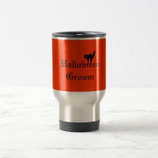 Halloween Groom with Black Cat - Orange and Black Travel Mug