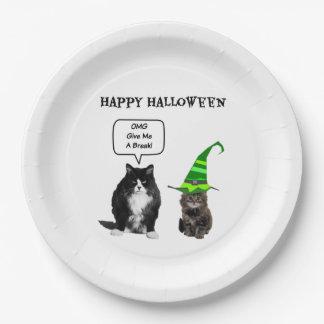 Halloween Grumpy Cat / Cute Kitten Paper Plates