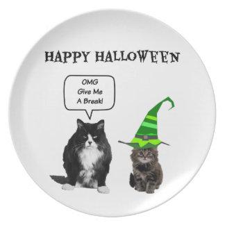 Halloween Grumpy Cat / Cute Kitten Plate