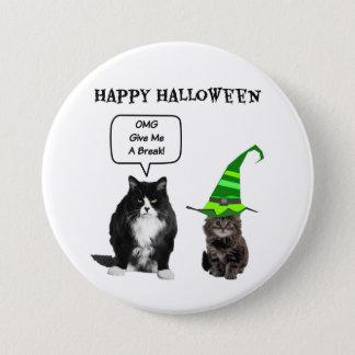 Halloween Grumpy Cat / Cute Kitten Round Button