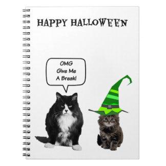 Halloween Grumpy Cat / Cute Kitten Spiral Notebook