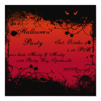 Halloween Grunge 5.25x5.25 Square Paper Invitation Card