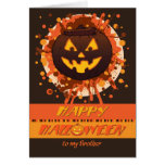 Halloween Grunge Pumpkin, for Brother - Funny Greeting Card