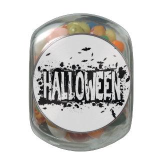 Halloween Grunge Silhouette Background Glass Jars
