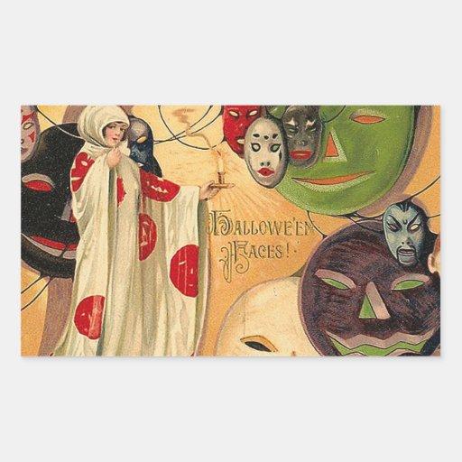 Halloween hace frente - a art déco rectangular pegatina