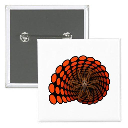 Halloween Hairy Spider in Orange Ovals Tunnel Button