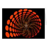 Halloween Hairy Spider in Orange Ovals Tunnel Greeting Cards