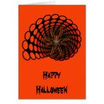 Halloween Hairy Spider in Orange Ovals Tunnel Cards
