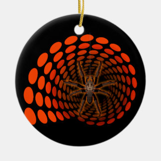 Halloween Hairy Spider in Orange Ovals Tunnel Christmas Tree Ornaments