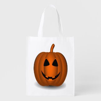 Halloween Happy and Scary Jack O' Lantern Bag Reusable Grocery Bags