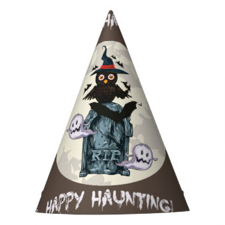 Halloween happy haunting owl and grave party hat