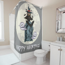 Halloween happy haunting owl and grave shower curtain