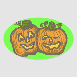 Halloween Happy Pumpkin Customizable Products Oval Sticker