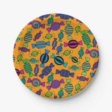 Halloween Themed Halloween Hard Candy Treats Paper Plate