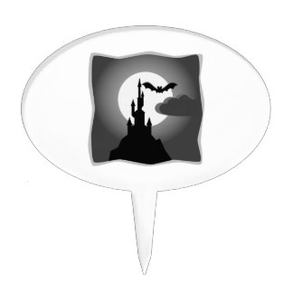Halloween Haunted Castle with Bat Cake Topper