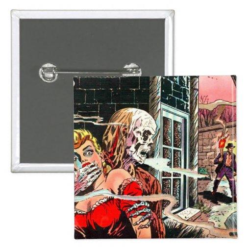 Halloween Haunted Comic Book Pinback Button