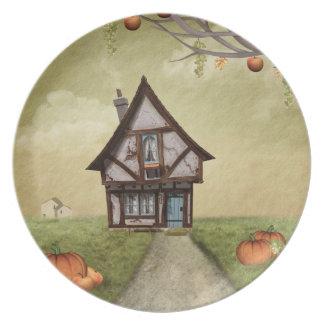 Halloween Haunted Cottage Fantasy Art Plate