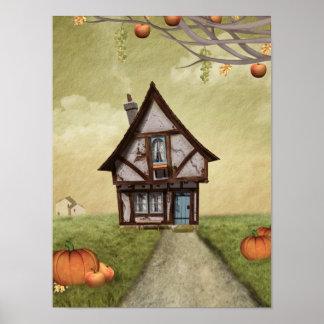 Halloween Haunted Cottage Fantasy Art Poster