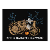Halloween Haunted Hay Ride Farm Tractor Ghosts Invitation