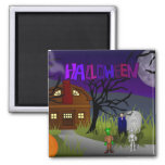 Halloween Haunted House 2 Inch Square Magnet
