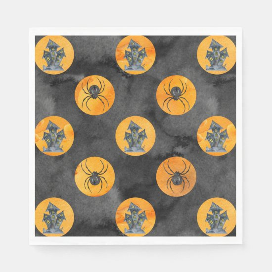 Halloween Haunted House and Spider Theme Napkins