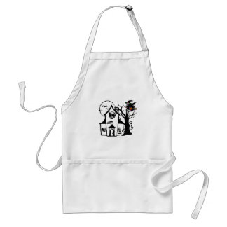 Halloween haunted house and witch adult apron