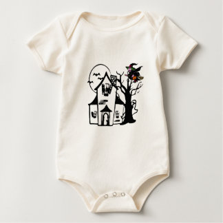 Halloween haunted house and witch baby bodysuit