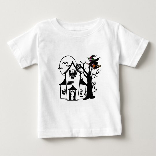 Halloween haunted house and witch baby T-Shirt