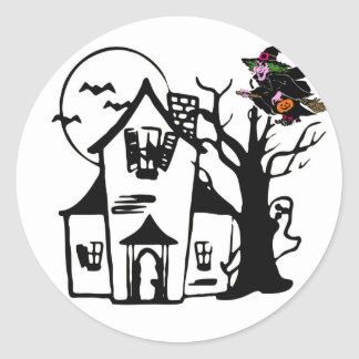 Halloween haunted house and witch classic round sticker