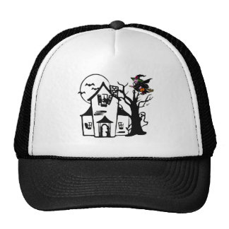 Halloween haunted house and witch mesh hats