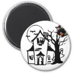 Halloween haunted house and witch refrigerator magnets